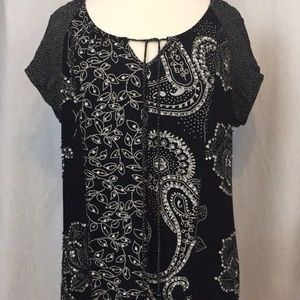 Bila Sz XL Black & White Sequined Tunic Top